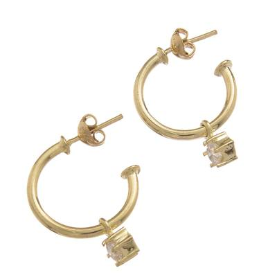 Gold plated sterling silver dangle earrings, 'Royal Hoops in White' - Gold Plated Sterling Silver Dangle Earrings in White