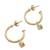 Gold plated sterling silver dangle earrings, 'Royal Hoops in White' - Gold Plated Sterling Silver Dangle Earrings in White thumbail