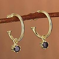 Gold plated sterling silver dangle earrings, 'Royal Hoops in Black' - Gold Plated Sterling Silver Dangle Earrings in Black