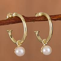 Gold plated cultured pearl dangle earrings, 'Royal Hoops' - Gold Plated Cultured Pearl Half-Hoop Dangle Earrings