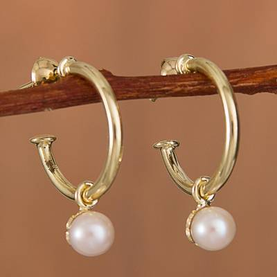 57fe2e369fb Gold Plated Cultured Pearl Half-Hoop Dangle Earrings, 'Royal Hoops'