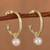 Gold plated cultured pearl dangle earrings, 'Royal Hoops' - Gold Plated Cultured Pearl Half-Hoop Dangle Earrings (image 2) thumbail