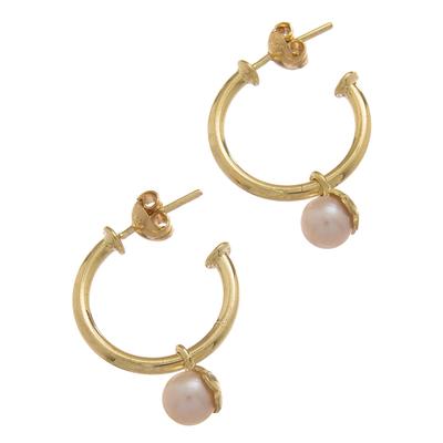 Gold plated cultured pearl dangle earrings, 'Royal Hoops' - Gold Plated Cultured Pearl Half-Hoop Dangle Earrings