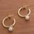 Gold plated cultured pearl dangle earrings, 'Royal Hoops' - Gold Plated Cultured Pearl Half-Hoop Dangle Earrings (image 2b) thumbail