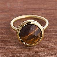 Gold plated tiger's eye single stone ring, 'Magic Pulse'