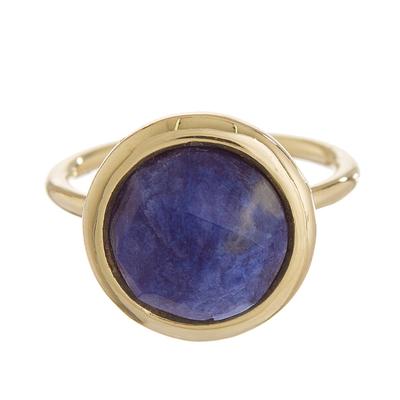 Gold plated sodalite single stone ring, 'Magic Pulse' - Gold Plated Sodalite Single Stone Ring from Peru