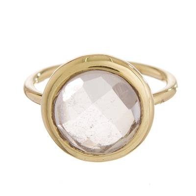 Gold plated quartz single stone ring, 'Magic Pulse' - Gold Plated Quartz Single Stone Ring from Peru
