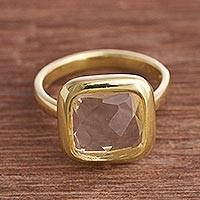 Gold plated quartz single stone ring, 'Beautiful Soul' - Square Gold Plated Sodalite Single Stone Ring from Peru