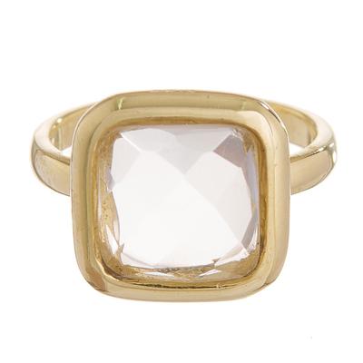 Gold plated quartz single stone ring, 'Beautiful Soul' - Square Gold Plated Sodalite Single Stone Ring from Peru