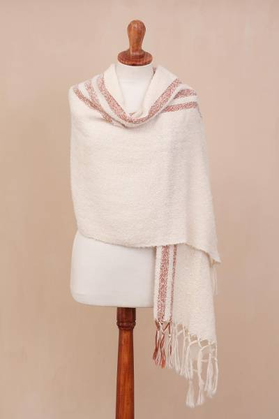 Alpaca blend shawl, 'Snow of the Andes' - Handwoven Alpaca Blend Shawl in Warm White from Peru