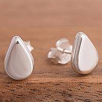 Sterling silver stud earrings, 'Little Drops of Light' - Drop-Shaped Sterling Silver Stud Earings from Peru