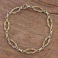 Gold plated silver link bracelet, 'Intertwined Links' - 18k Gold Plated Silver Link Bracelet from Peru