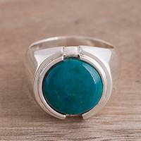Chrysocolla cocktail ring, 'Serene Allure' - Silver and Chrysocolla Cocktail Ring from Peru