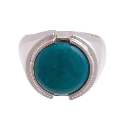 Sterling Silver and Chrysocolla Cocktail Ring from Peru