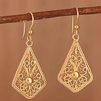 Gold-plated filigree dangle earrings, 'Royal Scroll in Gold' - Gold-Plated Sterling Silver Filigree Kite Dangle Earrings