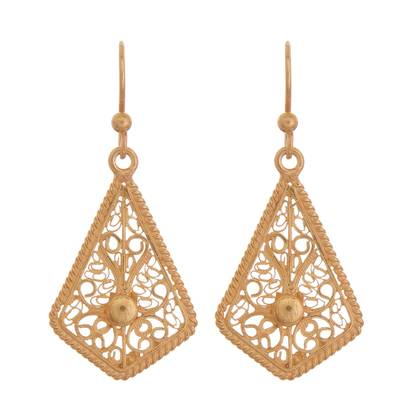 Gold-plated filigree dangle earrings, 'Royal Scroll in Gold' - Gold-Plated Sterling Silver Filigree Kite Dangle Earrings