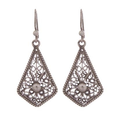 Sterling silver filigree dangle earrings, 'Royal Scroll in Antique' - Oxidized Sterling Silver Filigree Kite Dangle Earrings