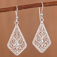 Sterling silver filigree dangle earrings, 'Gleaming Royal Scroll' - Gleaming Sterling Silver Filigree Kite Dangle Earrings