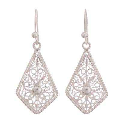 Sterling silver filigree dangle earrings, 'Gleaming Royal Scroll' - Gleaming Sterling Silver Filigree Kite Dangle Earrings