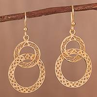 Gold plated filigree dangle earrings, 'Looped in Gold' - Gold-Plated Sterling Silver Filigree Circles Dangle Earrings