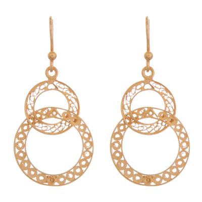 Gold plated filigree dangle earrings, 'Looped in Gold' - Gold-Plated Sterling Silver Filigree Circles Dangle Earrings