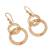 Gold plated filigree dangle earrings, 'Looped in Gold' - Gold-Plated Sterling Silver Filigree Circles Dangle Earrings (image 2c) thumbail