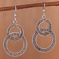 Sterling silver filigree dangle earrings, 'Looped in Antique' - Oxidized Sterling Silver Filigree Circles Dangle Earrings