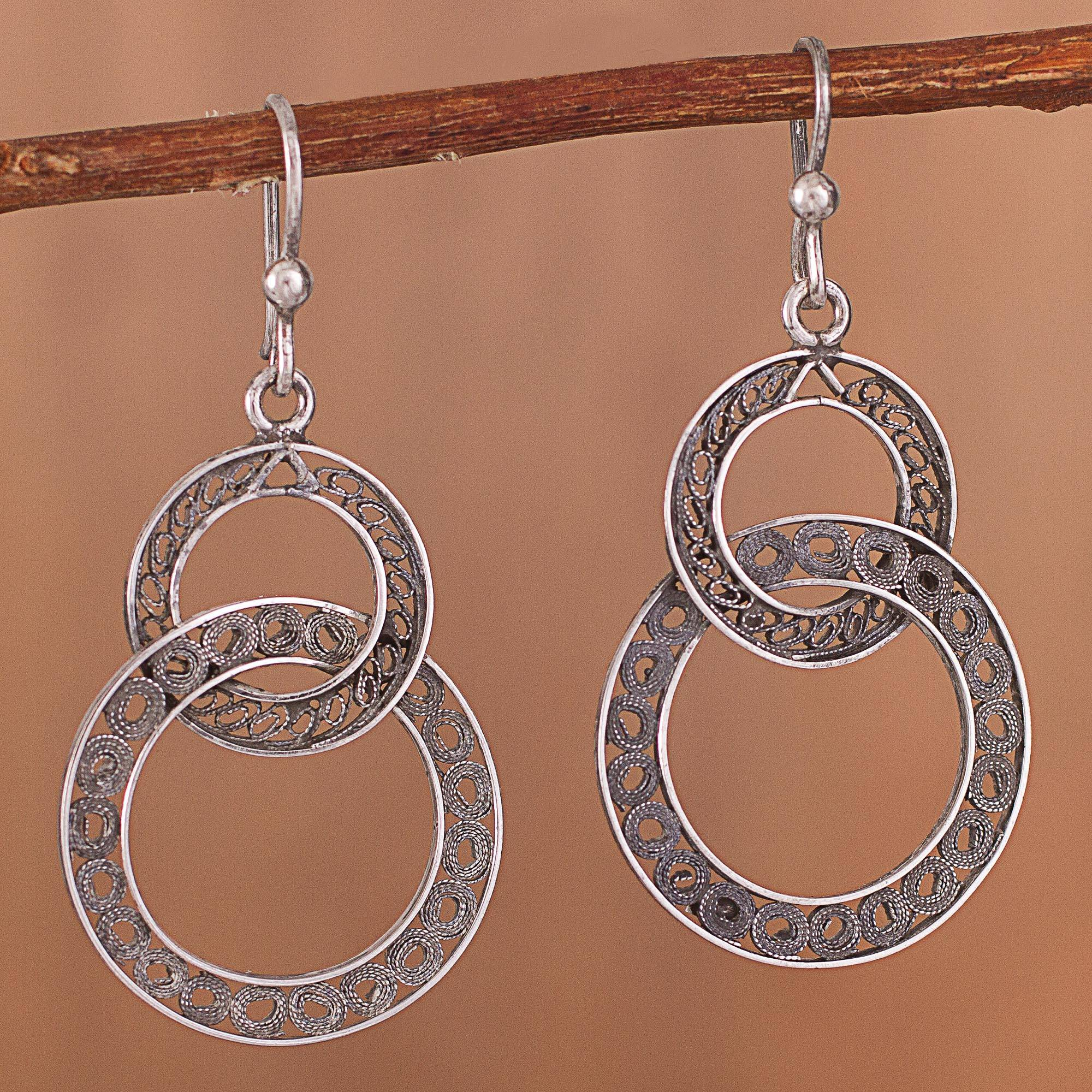 Oxidized Sterling Silver Filigree Circles Dangle Earrings Looped In Antique