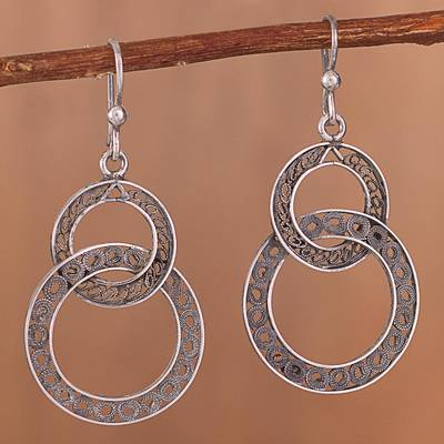 Novica Sterling silver dangle earrings, All My Valentines