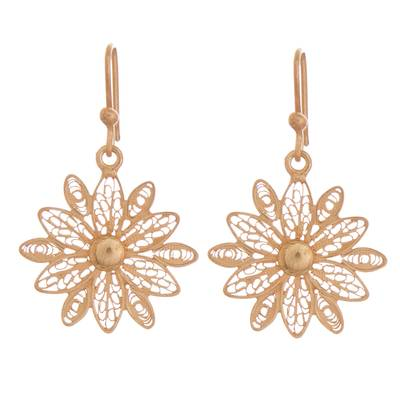 Gold plated sterling silver filigree dangle earrings, 'Starburst Flower in Gold' - Gold Plated Sterling Silver Filigree Flower Dangle Earrings