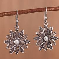 Sterling silver filigree dangle earrings, 'Starburst Flower in Antique' - Oxidized Sterling Silver Filigree Flower Dangle Earrings
