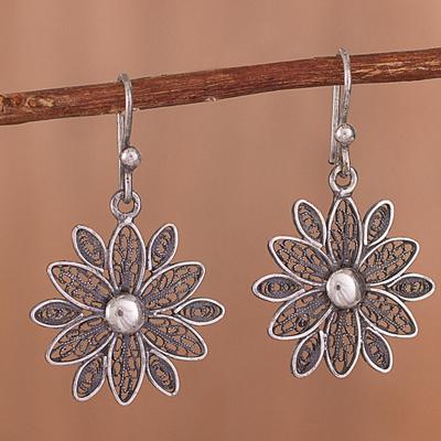 Novica Filigree sterling silver dangle earrings, Heavenly Blossom