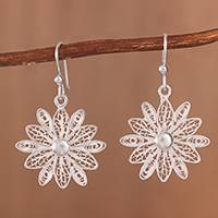Sterling silver filigree dangle earrings, 'Gleaming Starburst Flower'