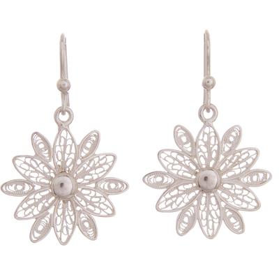 Sterling silver filigree dangle earrings, 'Gleaming Starburst Flower' - Gleaming Sterling Silver Filigree Flower Dangle Earrings
