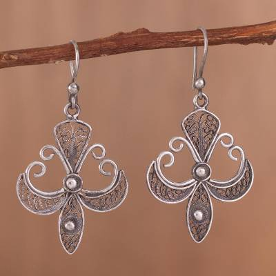 Sterling Silver Filigree Dangle Earrings Elaborate Cross In Antique Oxidized