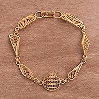 Gold plated sterling silver filigree link bracelet, 'Shapes' - Gold Plated Sterling Silver Filigree Shapes Link Bracelet
