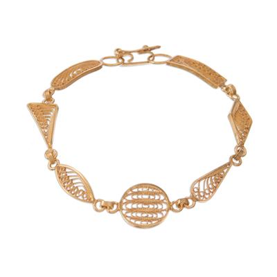 Gold plated sterling silver filigree link bracelet, 'Shapes' - Gold Plated Sterling Silver Filigree Shapes Link Bracelet