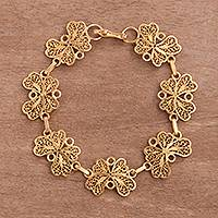Gold plated sterling silver filigree link bracelet, 'Golden Flight'