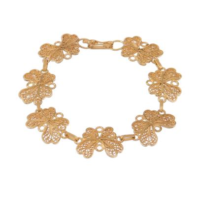Gold plated sterling silver filigree link bracelet, 'Golden Flight' - Gold Plated Sterling Silver Filigree Butterfly Link Bracelet