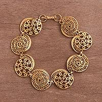Gold plated sterling silver filigree link bracelet, 'Elegant Spirals' - Gold Plated Sterling Silver Filigree Scrolls Link Bracelet