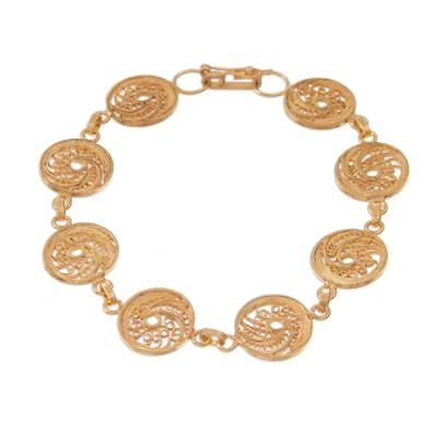 Gold plated sterling silver filigree link bracelet, 'Paisley Spirals' - Gold Plated Sterling Silver Filigree Spirals Link Bracelet