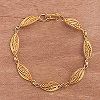 Gold plated sterling silver filigree link bracelet, 'Delicate Leaves' - Gold Plated Sterling Silver Filigree Leaves Link Bracelet