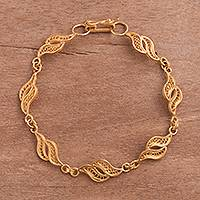 Gold plated sterling silver filigree link bracelet, 'Flowing Waves'