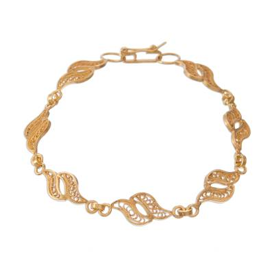 Gold plated sterling silver filigree link bracelet, 'Flowing Waves' - Gold Plated Sterling Silver Filigree Waves Link Bracelet