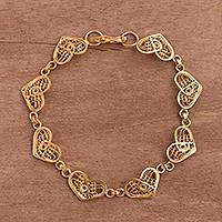 Gold plated sterling silver filigree link bracelet, 'Intricate Hearts'