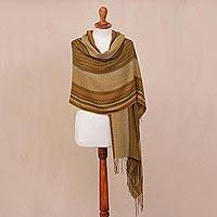 Alpaca blend shawl, 'Exotic Celebration' - Handwoven Striped Alpaca Blend Shawl from Peru