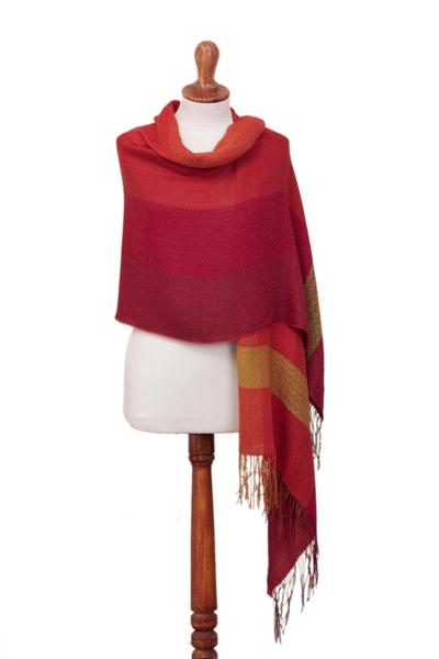 Alpaca blend shawl, 'Sunset Celebration' - Hand Woven Striped Alpaca Blend Shawl from Peru