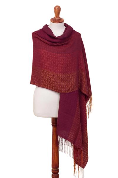 Alpaca blend shawl, 'Inviting Beauty' - Hand Woven Striped Alpaca Blend Shawl from Peru