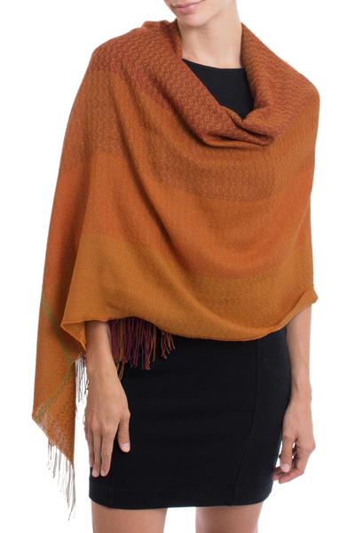 Alpaca blend shawl, 'Glorious Warmth' - Hand Woven Orange Alpaca Blend Shawl from Peru