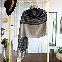 Alpaca blend shawl, 'Magnificent Grey' - Hand Woven Grey Striped Alpaca Blend Shawl from Peru